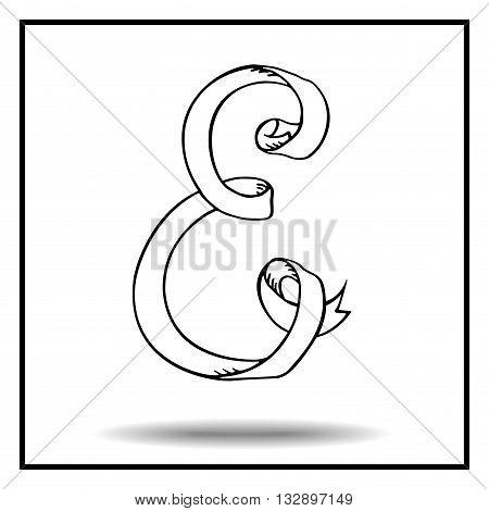 Ribbon alphabet. Ribbon letter. Ribbon E. Display ribbon font. Sketch ribbon latter E.