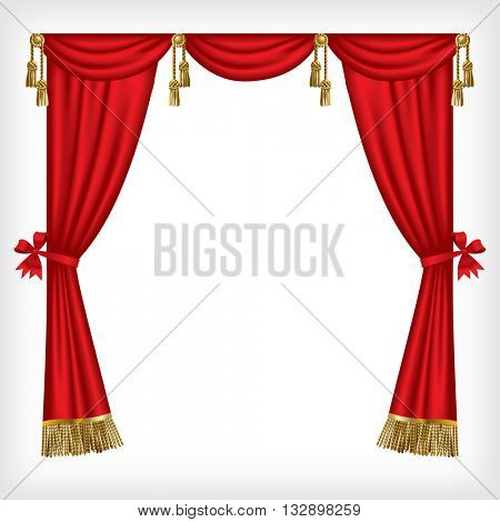 Classic red blinds with gold fringes and tassels isolated on white. Vector illustration