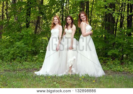 Three beautiful and happy bride on the forest edge