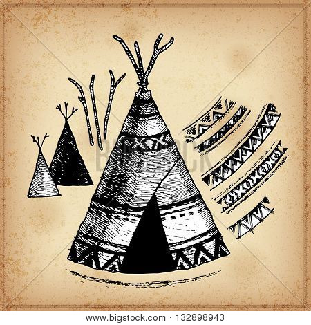 Set of hand drawing ink black and white wigwams. Vector illustration. Set of doodle tribal wigwams. Elements in native style for greeting card and postcard, henna and tattoo design.