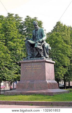 Saint-Petersburg Russia - circa July 2015: Nikolai Rimsky-Korsakov Russian composer. A sculptural monument to the famous Russian composer teacher conductor public figure music critic