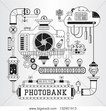 Steampunk vector illustration of microstock photobank process of work.