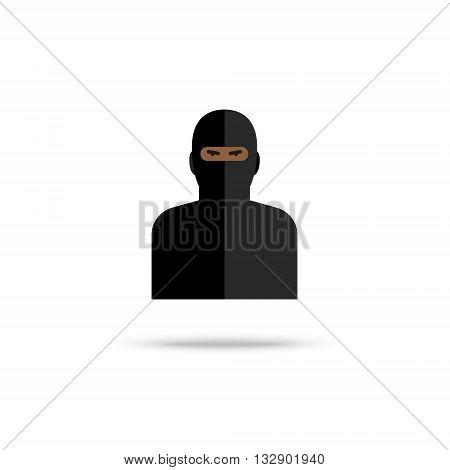 Icon of terrorist on white background. Flat design, vector illustration.