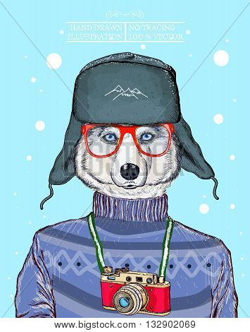 Fashion animal illustration husky dog hipster animal hand drawn vector