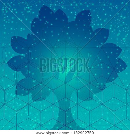 Tree with sacred geometry symbols and elements. Sacred mesh background. Alchemy religion philosophy astrology and spirituality themes. Sacred mesh with triangles circles and squares.