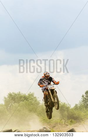 Flight Rider On A Motorcycle Motocross.