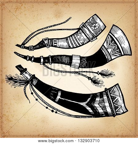 Set of hand drawing ink black and white hunting horns. Vector illustration. Set of doodle tribal hunting horns. Elements in native style for greeting card and postcard, henna and tattoo design.