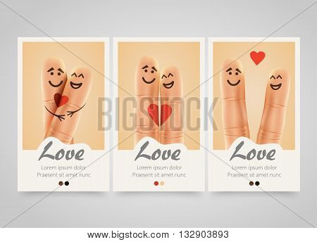 Modern colorful vertical love motive banners. Pair of happy fingers smiley in love. photo session flyer or wedding invitations set. Backgrounds with selfie fingers. Vector illustration