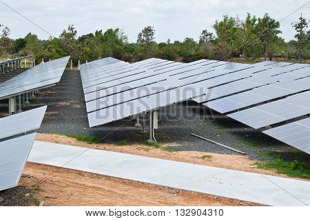 Solar Cell Plant in Countryside North East of Thailand