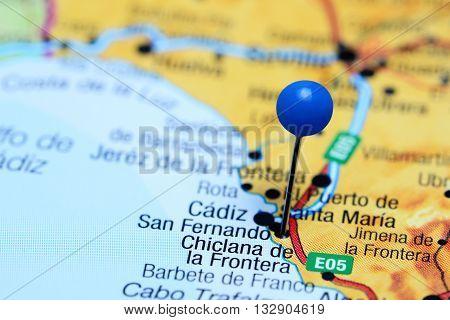 Chiclana de la Frontera pinned on a map of Spain