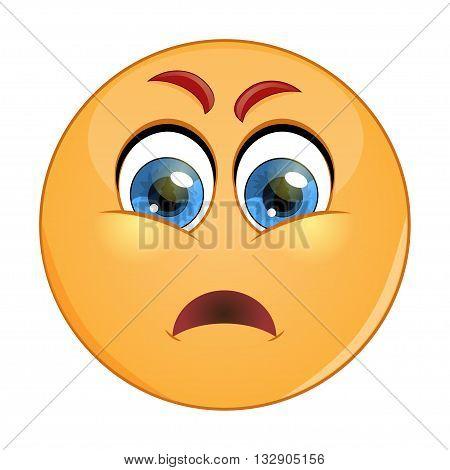Grumpy emoticon. Isolated vector illustration on white background