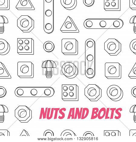 Seamless pattern of Screws and Nuts. Construction Hardware: Bolts Nuts and Spacers isolated vector elements for your design.