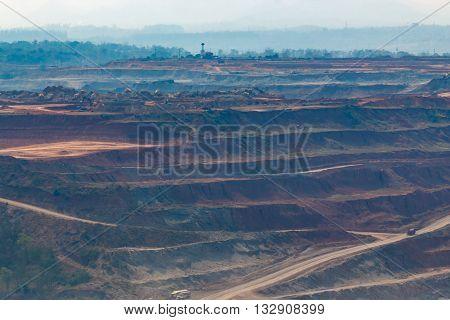 Mining Dump Trucks Working In Lignite Coalmine Lampang Thailand