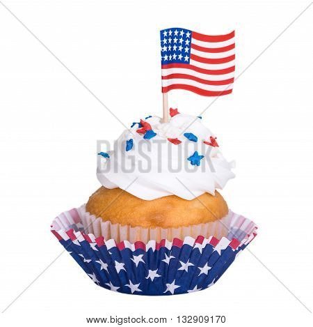Patriotic 4th of July cupcake with flag isolated on white background