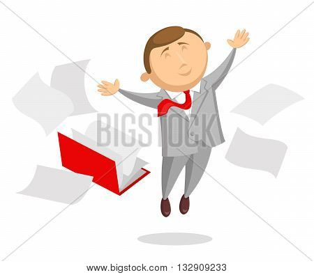 Happy clerk dressed in gray business suit and with red tie is cheerfully jumping up, arms is outstretched in different sides. Opened folder with documents and sheets around him