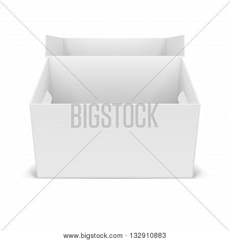 Illustraion of open white cardboard boxes isolated for design