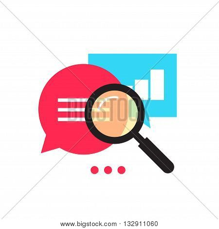 Data analytics vector icon, analyzing information statistic, search optimization, investigation process, analytics research diagram, bubble speech magnifier flat illustration design isolated on white
