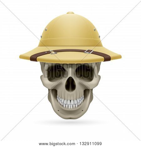 Pith helmet on skull isolated on white background