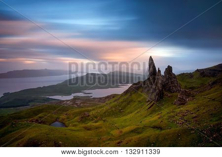 Moody evening with Old Man of Storr Isle of Skye Scotland