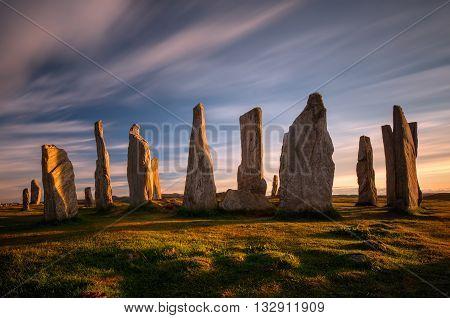 Callanish stones in sunset light Lewis Scotland