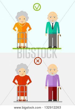 Elderly Couple Happy And Unhappy