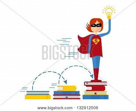 Girl Superman On Pile Of Books