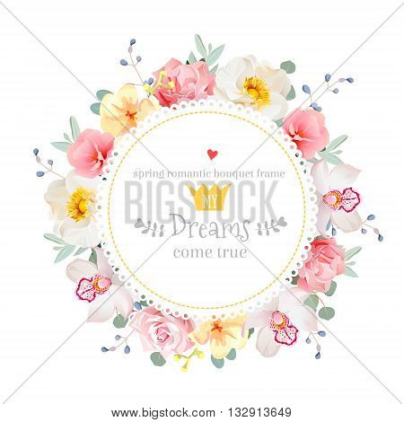 Luxury wild rose orchid carnation pink flowers blue berries and eucalyptus leaves round vector frame. All elements are isolated and editable.
