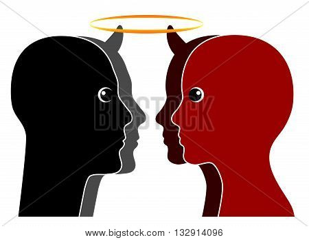Angel versus Devil. Good and evil can be found in every human nature