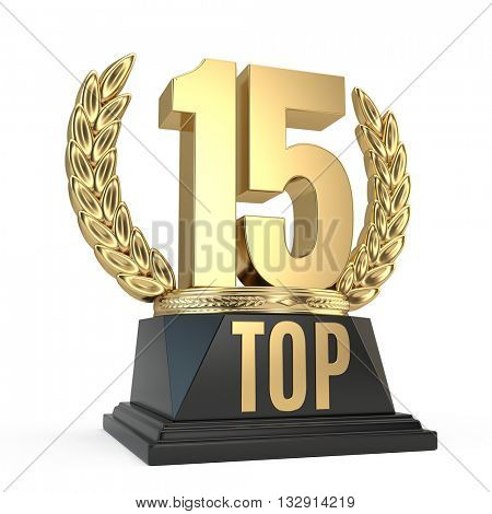 Top 15 fifteen award cup symbol isolated on white background. 3d render