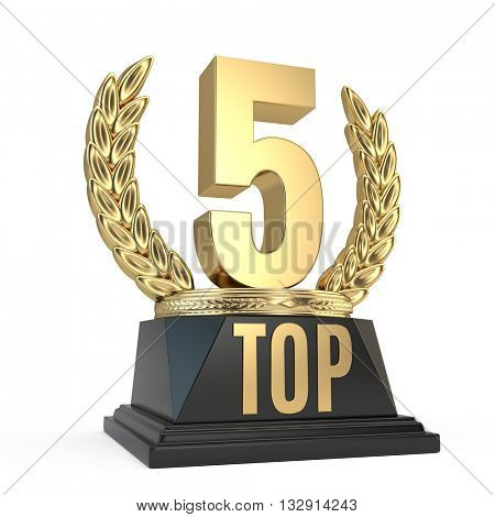 Top 5 five award cup symbol isolated on white background. 3d render