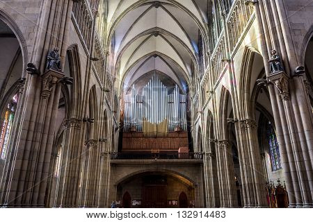 San Sebastian (Donostia) Spain - May 29 2016: Pipe organ in nave of Cathedral of the Good Shepherd (Buen pastor) located in the city of San Sebastian Gipuzkoa Basque Country Spain.