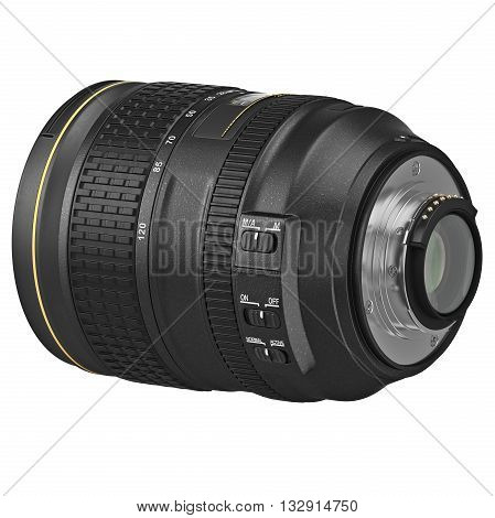 Professional optic SLR lens for camera. 3D graphic