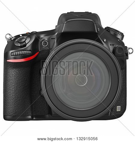 Optical lens DSLR camera professional, front view. 3D graphic