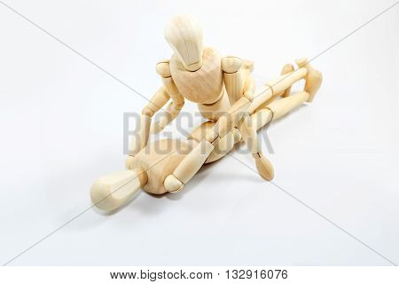 Dummy Wooden Sex On White Background