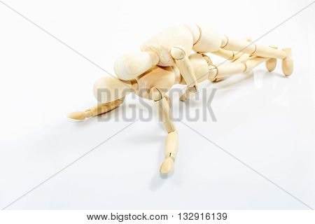 Dummy Wooden Sex On White Background