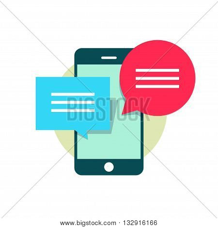Mobile phone with red blue bubble speech, concept of web chatting, online texting, messaging, connection, communication dialog, sending information modern flat vector illustration design isolated sign