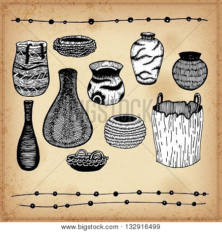 Ware Indians of North America. Line art. Isolated. Crockery. Ink on a grand background. Tableware