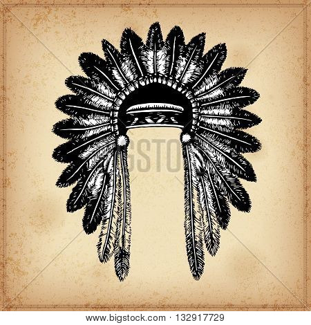 Set of hand drawing ink black and white Indian headdress. Vector. Set of doodle tribal Indian ink headdress. Elements in native style for greeting card and postcard, henna and tattoo design.