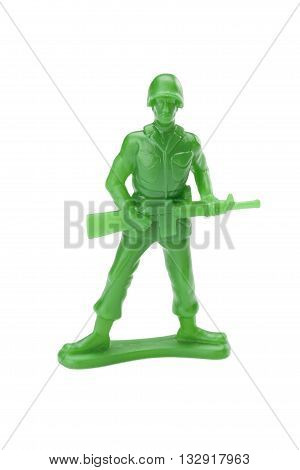 plastic toy soldier isolated on white background