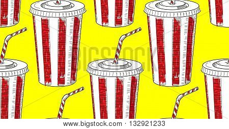 Cola In A Paper Cup Vector Pattern