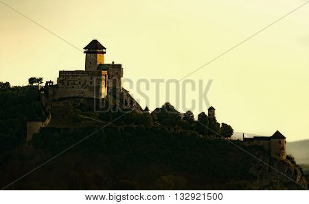 Castle in trencin, slovakia with candle light
