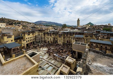 View of a tannery in the city of Fez in Morocco