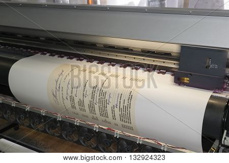 printing a poster of the menu page by inkjet printer