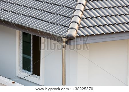 Gutter On The Roof Top Of House