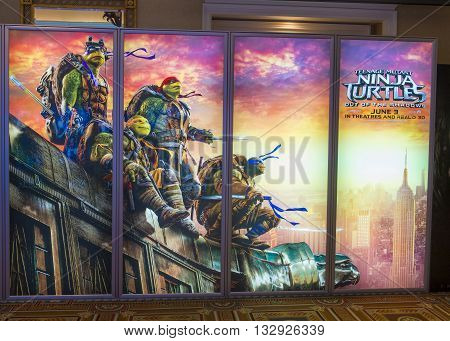 LAS VEGAS - April 13 : A display for the movie 'Ninja Turtles' at Caesars Palace during CinemaCon the official convention of the National Association of Theatre Owners on April 13 2016 in Las Vegas