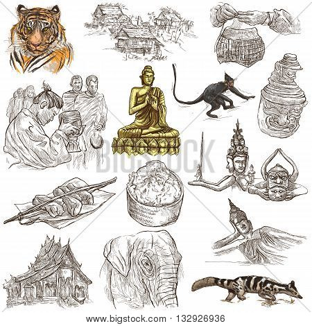 Travel LAOS- Pictures of Life.Collection of an hand drawn colored illustrations - Lao People's Democratic Republic.Pack of full sized hand drawn illustrationsset of freehand sketches.Drawing on white