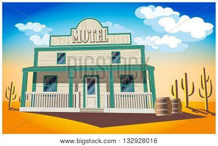 Stylized vector illustration of a motel in the middle of the desert