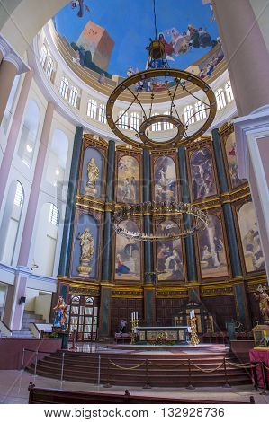 SAN SALVADOR EL SALVADOR - MAY 06 : The Cathedral interior in San Salvador El Salvador on May 06 2016. The Cathedral was completed and inaugurated on March 19 1999