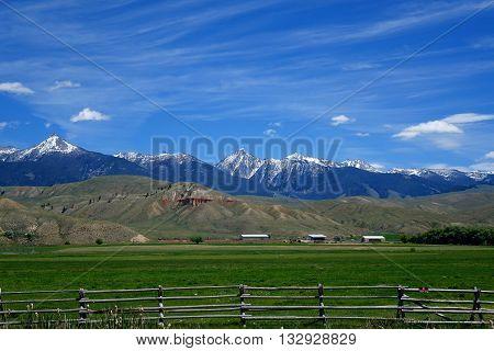 The Beaverhead Mountains provide a beautiful background for a ranch near Salmon, Idaho.