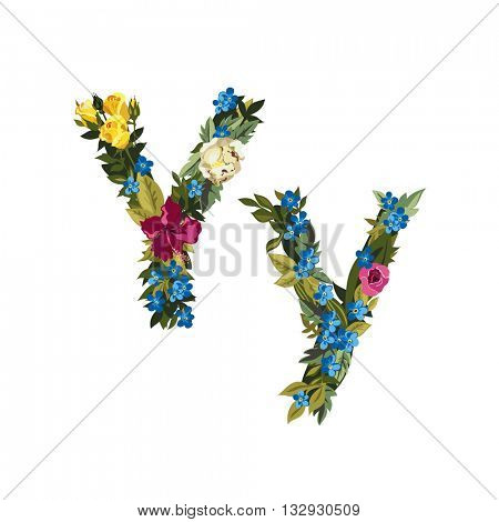 Y letter. Flower capital alphabet. Colorful font. Uppercase and lowercase. Vector illustration. Grotesque style. Floral alphabet.